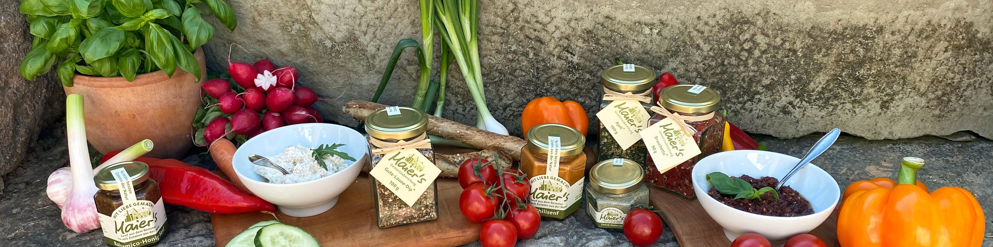 Maier's Genuss Kräuterzubereitungen (Dips), Senfe und Salze